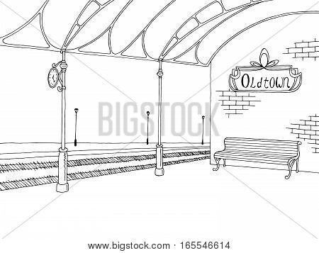 Railway station graphic train platform sketch illustration vector