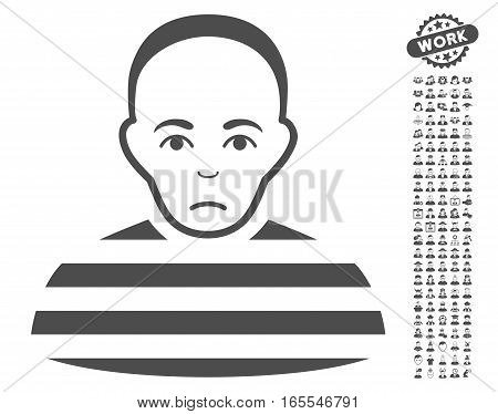 Prisoner icon with bonus occupation design elements. Vector illustration style is flat iconic gray symbols on white background.