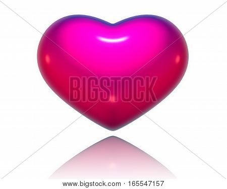 Pink three-dimensional heart isolated on white background for Valentine Day