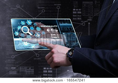 Business, Technology, Internet And Network Concept. Young Business Man Writing Word: Personality