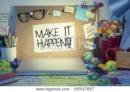 Motivation success concept motivational note in office