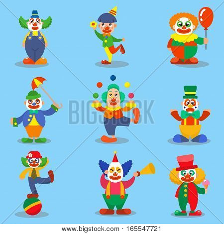 Set of clown performing different fun activities vector cartoon illustrations. Cute characters happiness performer carnival actor. Makeup juggling human.
