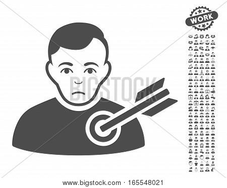 Target Man pictograph with bonus men design elements. Vector illustration style is flat iconic gray symbols on white background.