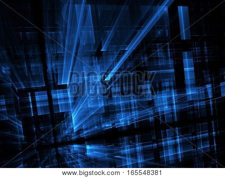 Computer generated abstract blue technology image. Three-dimensional fractal texture