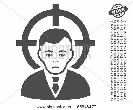 Victim Businessman pictograph with bonus people icon set. Vector illustration style is flat iconic gray symbols on white background.