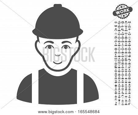 Worker icon with bonus avatar symbols. Vector illustration style is flat iconic gray symbols on white background.