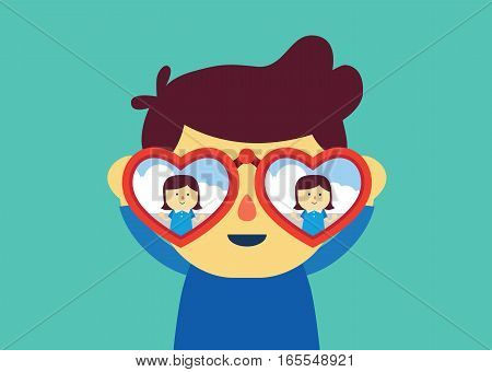 Man using binoculars with heart shape for finding girlfriend. Illustration about falling in love.