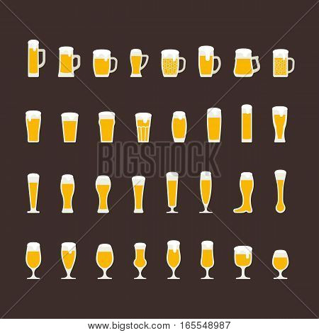 Beer glasses and mugs flat icon set. Vector illustration