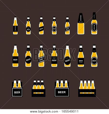 Beer bottle, box flat colored icon set. Vector