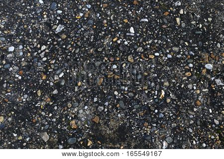 Background motif: small pebbles in dark soil