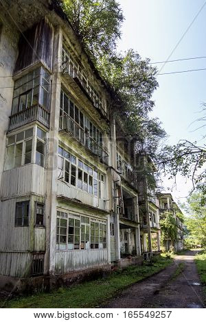 Abandoned house destroyed by war. Mining ghost-town Polyana, Abkhazia. Remnant of The Georgian-Abkhazian war