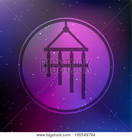 Vector Bamboo Wind Chime Illustration on a Cosmic Background
