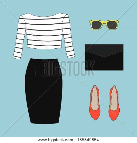 Collection of women's clothes: black skirt, a striped top, red shoes, yellow sunglasses, a black clutch
