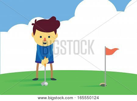 Man in prepare posture for putting a golf ball into hole on green field.
