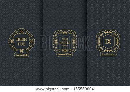 Vector set of vintage design elements. Monograms for logos and retro backgrounds
