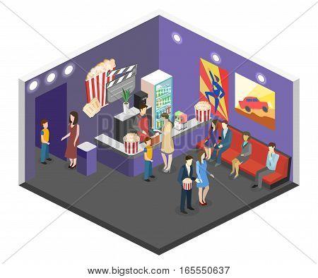Isometric Flat 3D Concept Vector Interior Of Cinema Waiting Hall.