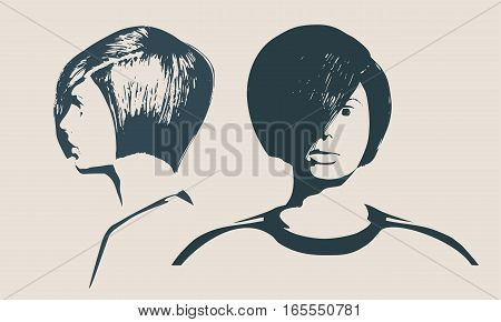 Face profile and front views. Elegant silhouette of a female head. Vector Illustration. Short hair. Monochrome gamma