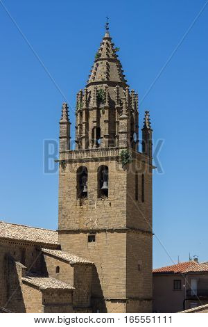church bell tower Late 16th century late Gothic building of San Esteban built in the village of Loarre Aragon Huesca Spain, near Loarre Castle
