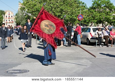 CORFU, GREECE - APRIL 30, 2016: Procession of the holy body of Saint Spyridon, patron saint of Corfu. Epitaph and litany of St. Spyridon.