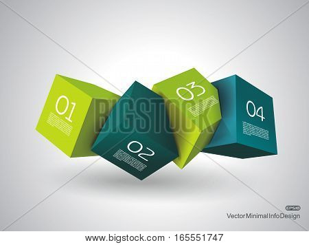 Abstract Composition of 3d cubes vector Illustration.