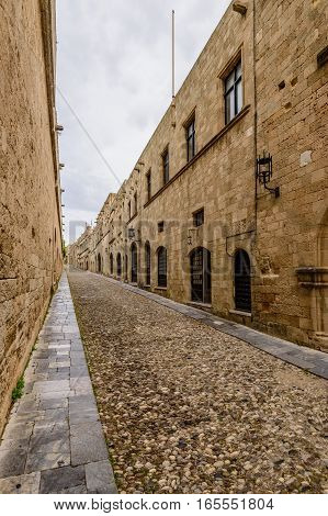 Ancient street of knights in the old town of Rhodes, Dodecanese, Greece