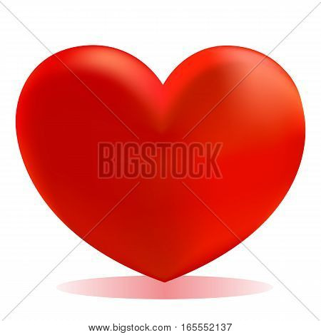 Heart icon isolated on white, modern volume effect design style