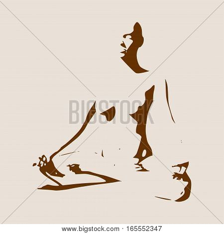 Woman sit in meditation pose. Sexy women silhouettes. Fashion mannequin isolated. Female figure posing. Front view. Yoga Center Emblem.
