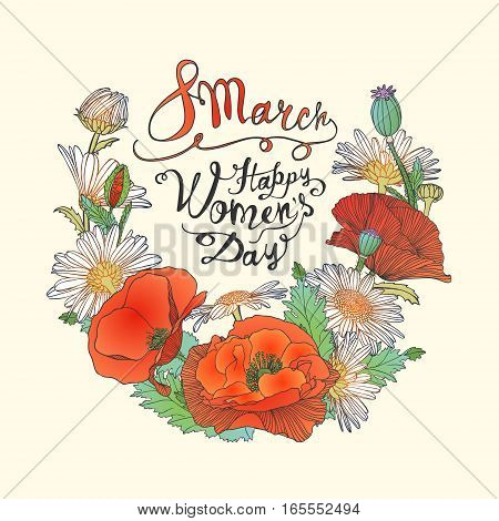 8 March. Happy Woman's Day! Card With Flowers