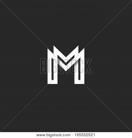 Letter M Logo Monogram, Overlapping Line Mark Mm Initials Combination Symbol Mockup, Black And White