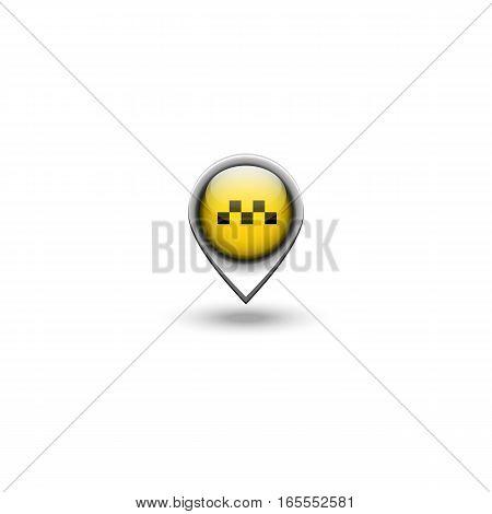 Taxi logo transport location 3D pin city position cab navigation emblem
