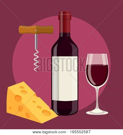 bottle of wine, glass of wine cheese and Corkscrew. Vector illustration in flat style For web, info graphics.