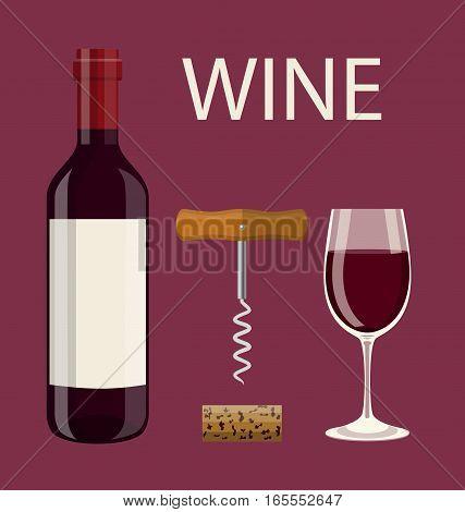 Bottle, glass of wine, cork, corkscrew. Vector illustration in flat style For web, info graphics.