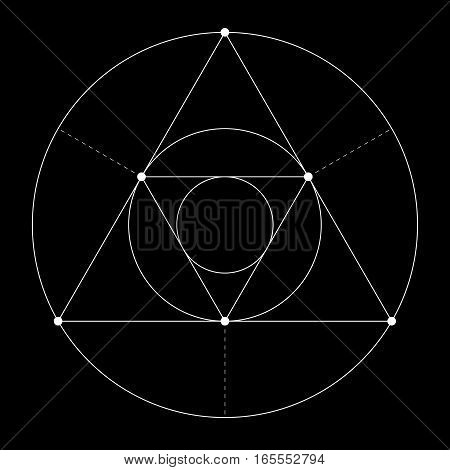 Harmonic in sacred geometry Plato. The ratio of triangle and circle. Stock vector illustration poster