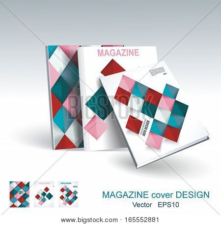 Vector Design Of Business Brochure, Magazine, Flyer Template With Geometric Rhombus Background.