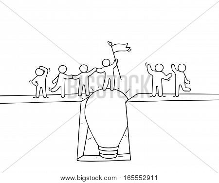 Cartoon working little people cross the abyss. Doodle cute miniature scene of team on the bridge like lamp idea. Hand drawn vector illustration for business design and infographic.