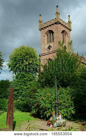 A view of the clock tower on a church in Muthill