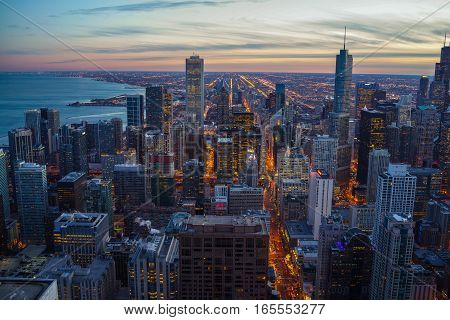 Chicago Skyline Twilight Sunset with Lake Michigan