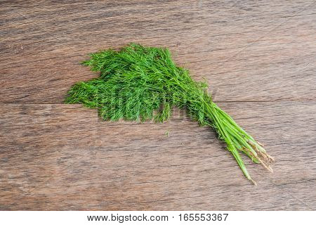 Bunch Of Fresh Organic Dill On A Rustic Wooden Background
