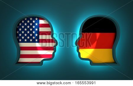 Image relative to politic and economic relationship between USA and Germany. National flags inside the heads of the businessmen. Teamwork concept. 3D rendering. Neon light