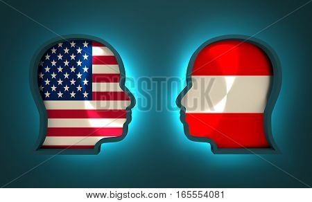 Image relative to politic and economic relationship between USA and Austria. National flags inside the heads of the businessmen. Teamwork concept. 3D rendering. Neon light