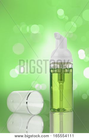Green Cosmetic Product Pump Atomizer Bottle for Mockup