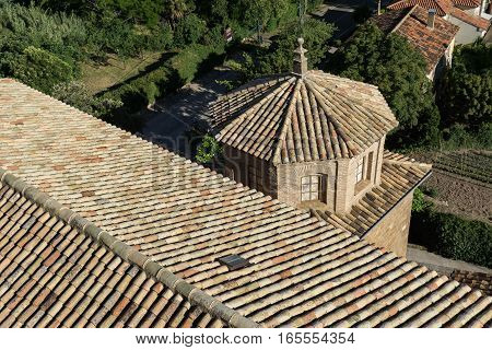 Shingle roof tile of chapel and Church of San Esteban built in the 18th century in the village of Loarre Aragon Huesca Spain, Loarre Castle