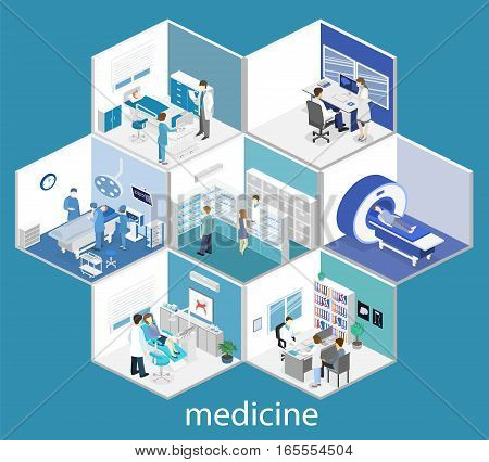 Isometric Flat Interior Hospital Room, Pharmacy, Doctor's Office, Mri, Operating.