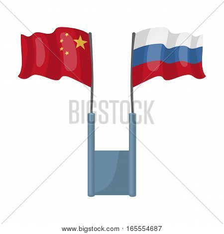 Russia and China flags icon in cartoon design isolated on white background. Interpreter and translator symbol stock vector illustration.