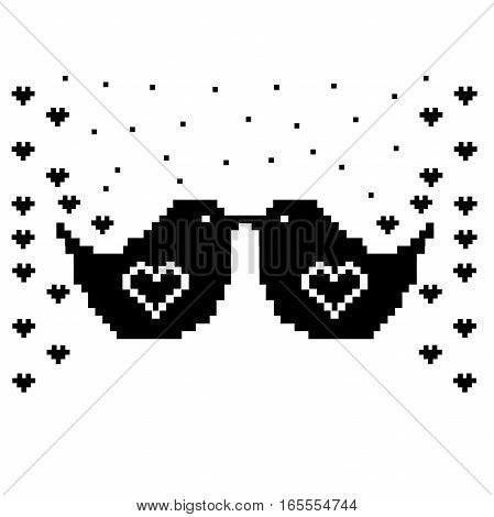 birds pixel art template. Cross stitch. Scheme of knitting and embroidery. Vector.