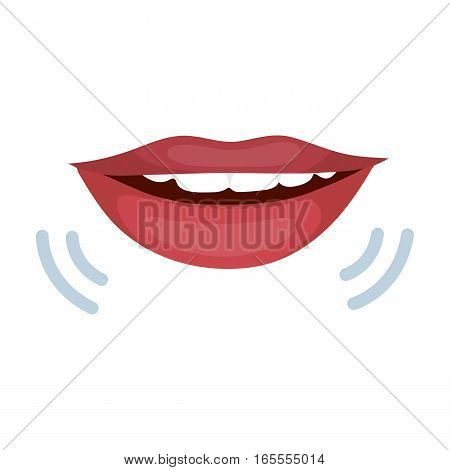 Speaking mouth icon in cartoon design isolated on white background. Interpreter and translator symbol stock vector illustration.