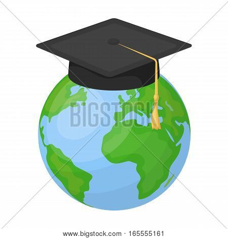 Multilingual planet icon in cartoon design isolated on white background. Interpreter and translator symbol stock vector illustration.