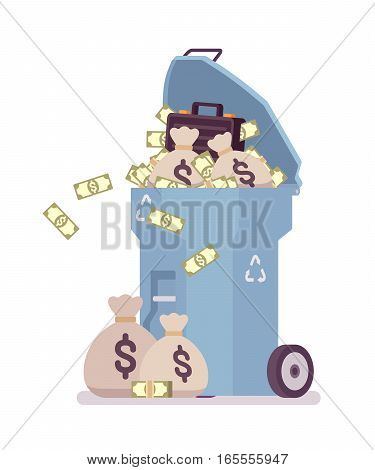 Light blue trash bin on wheels full of banknotes, dollar sacks, case with money, challenge to get rid of richness, rejection of luxury life, success, escape from wealthy style, spend money for nothing