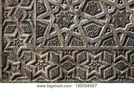 Ornaments of the bronze-plate ornate door of Sultan Qalawun mosque an ancient historic mosque in Old Cairo Egypt