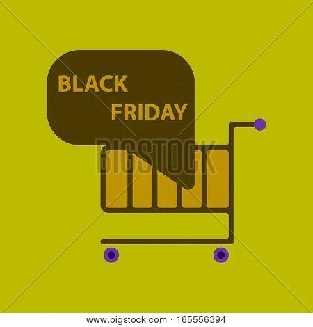 Flat icon of Shopping Cart Black Friday